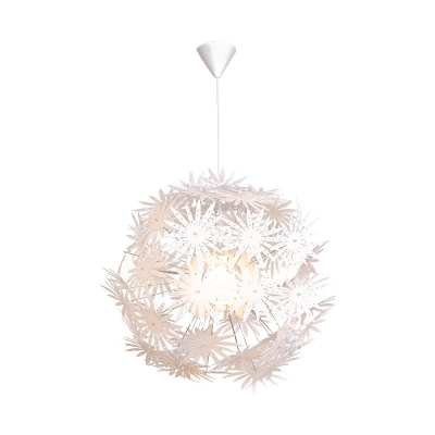 Starburst Pendant Lamp 1 Light Metal and Plastic Art Deco Hanging Ceiling Light in White, 19