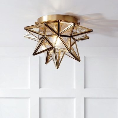 Vintage Star Flush Mount Ceiling Light Glass and Metal 1 Light Living Room Flush Lamp