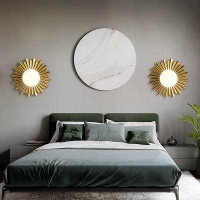 White Glass Sphere Wall Light with Brass Scalloped Backplate 1 Heads Modern Wall Mounted Light
