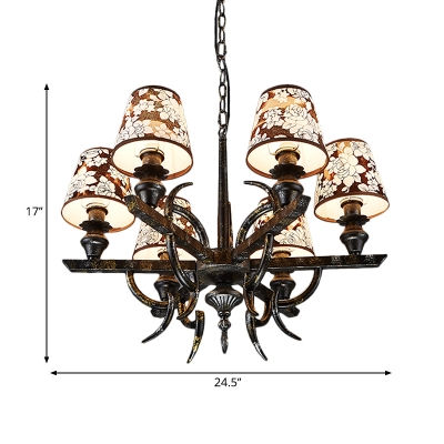 6 Lights Tapered Chandelier Lamp with Flower Pattern Traditional Hanging Ceiling Light in Rust