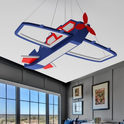 Acrylic Airplane Pendant Light Fixture Modernism LED Ceiling Chandelier in Blue, Warm/White Light