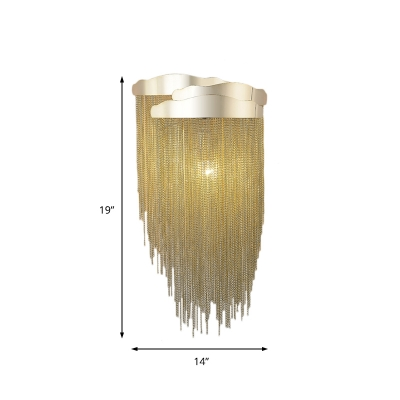 Aluminum Tassel Wall Lighting Modern 3 Lights Wrought Metal Chain Wall Sconce in Silver/Gold for Bedside