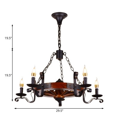 Black Candle Chandelier Lamp with Wooden Round 3/5/6 Lights Industrial Hanging Pendant Light