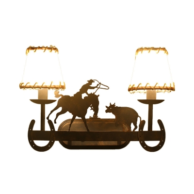 Fabric Trapezoid Lighting Sconce with Animal Decoration Vintage 2 Lights Wall Sconce Light in Rust