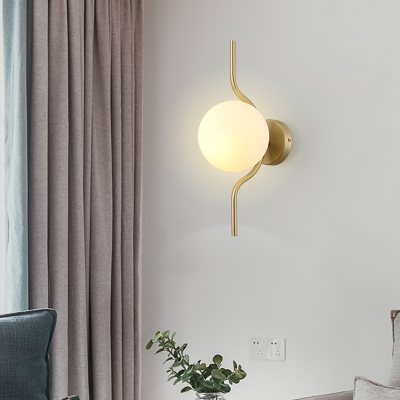 Frosted Glass Orb Wall Lighting Mid Century Modern Single Light Sconce Lighting in Brass
