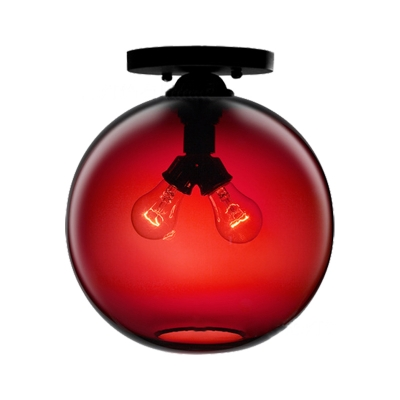 Global Ceiling Mounted Light with Red/Sky Blue/Amber/Dark Smoke/Coffee Glass Shade Modern 2-Head Flushmount Ceiling Lamp