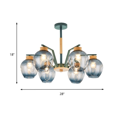 Gray/Green Domed Hanging Light Fixture with Concave Glass Shade Modernist 6/8/10 Bulbs Chandelier Lamp