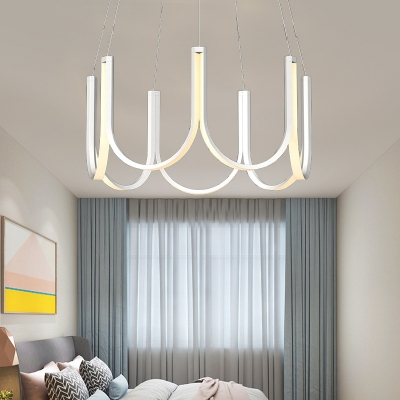 Integrated Led Chandelier Lamp Modern Simple Metal and Acrylic Indoor Pendant Ligh