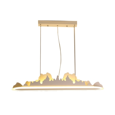 Led Linear Chandelier Lighting with Mountain View Design Modern Metal Pendant Lamp in Brown/White, 31.5