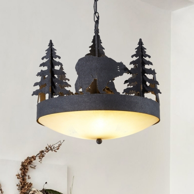 Loft Bowl Chandelier with Tree and Bear Metal and Opal Glass 3-Light Pendant Lighting in Black