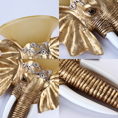 Loft Style Elephant Wall Light Fixture Resin Single Light Wall Sconce Light in Gold with Amber Glass Shade, 13
