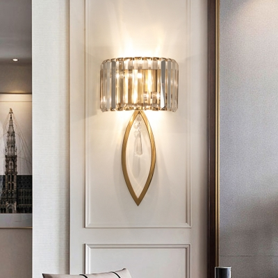 Luxurious Half-Drum Wall Light with Clear Crystal Metal 2 Lights Gold Wall Lamp for Corridor Bedroom