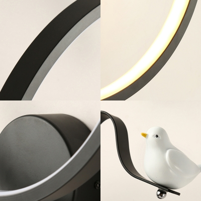 Modern Decorative Ring Sconce Lighting Metal Led Wall Mount Light with Bird Accents