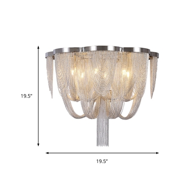 Silver Ceiling Light with Metal Chain Shade Art Deco Indoor Flush Lighting for Living Room