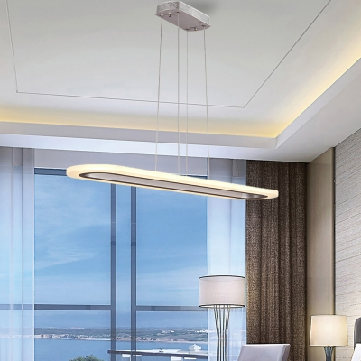 Silver Linear Chandelier Lamp Contemporary 31.5