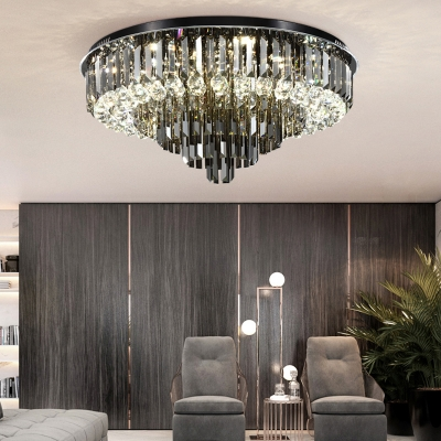 Smoke Gray Crystal Flush-Mount Light Modern LED Bedroom Flush Mount Chandelier, 19.5