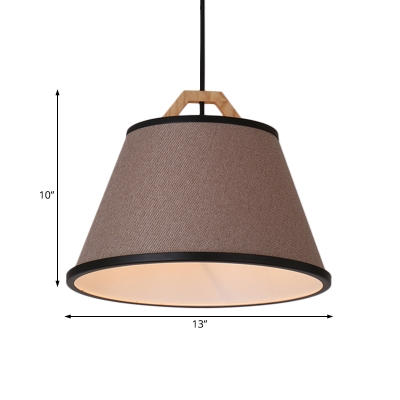 Tapered Shade Drop Light Modern Simple Flaxen/Gray Fabric Shade 1 Light Hanging Pendant Light