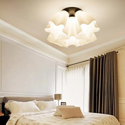 White Glass Scalloped Semi Flush Light Loft Country 3/5/7 Lights Ceiling Flush Light for Dining Room