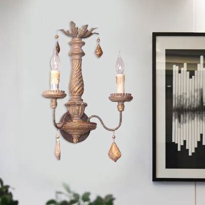 Wooden Sconce Lighting with Hanging Prism 2 Lights Country Style Wall
