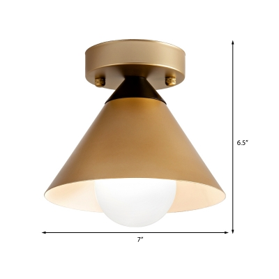 1 Head Golden Ceiling Flush Mount Light with Cone Metal Shade Minimalist Flushmount Ceiling Lamp for Kitchen