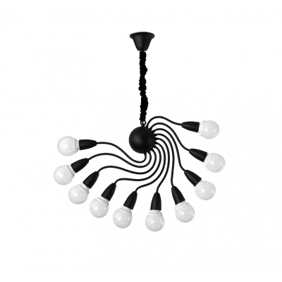 10 Lights Spiral Ceiling Pendant Light Metal Contemporary Decorative Chandelier Lighting in Black/White