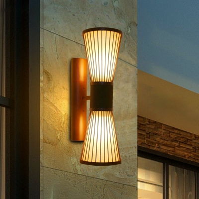 2 Lights Hourglass Wall Sconce Chinese Style Bamboo Wall Lamp in Brown for Corridor