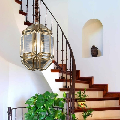 3 Lights Geometric Chandelier Lamp Vintage Style Clear Glass Porch Pendant Lighting in Brass