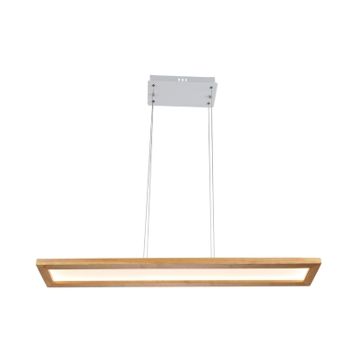 39 Inch Wide Linear Chandelier Wooden Nordic Led Dining Room Pendant Light, White/Neutral/Warm Light