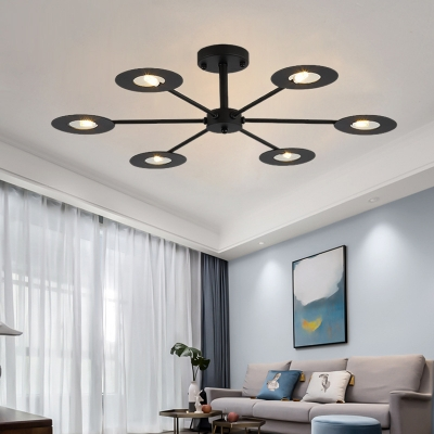 6/8 Lights Disc Ceiling Chandelier with Radial Design Contemporary Iron Pendant Lighting in Black/White/Black and Gold/White and Gold