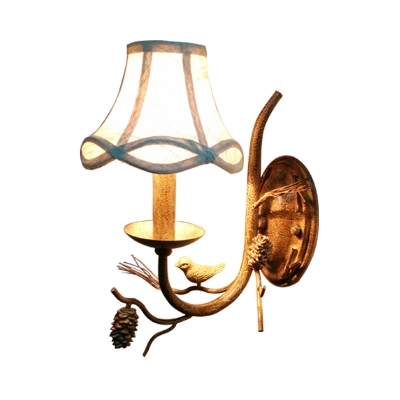 Bell Shade Wall Light with Fabric Shade 1/2 Lights Traditional Wall Sconce Lighting in Brown