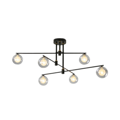 Black/Gold 3-Tiers Chandelier Lighting Minimalist 6/9 Lights Metal Pendant Light with Orb Glass Shade