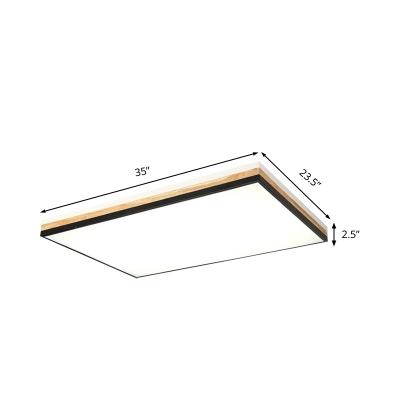 Black Rectangle Flush Mount Fixture Modernist LED 23.5