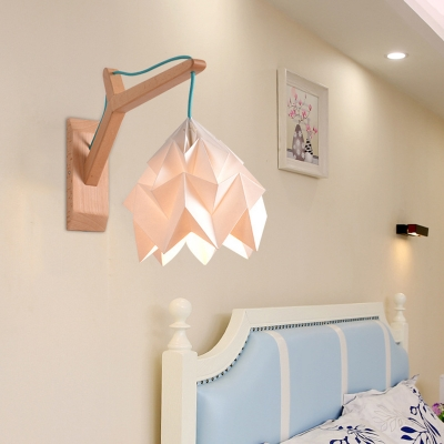 Domed Shade Paper Wall Mounted Lamp Macaron 1 Head White/Pink/Yellow/Blue/Green Sconce Light Fixture with Wood Backplate