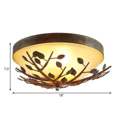 Frosted Glass Dome Flush Lighting with Branch Design 3 Bulbs Ceiling Flush Mount Light in Brown