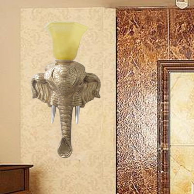 Gold Elephant Wall Mounted Light with Flared Opal Glass Shade 1 Lights Country Resin Wall Sconce for Living Room