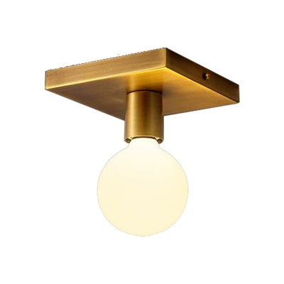 Golden Square/Round Backplate Flush Mount Fixture with Frosted Glass Simple 1 Head Flushmount Ceiling Lamp