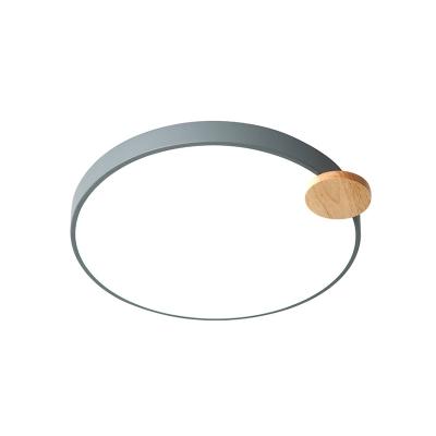 Gray/White Circular Flush Mount Light Contemporary Metal LED Flush Ceiling Light for Bedroom, 12