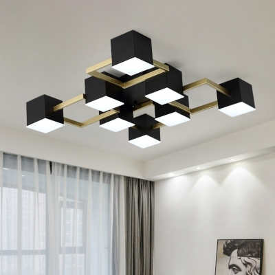 Mid Century Modern Cube Flush Light 28