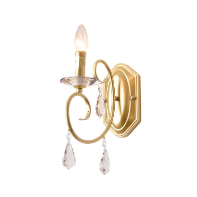 Modern Candle Wall Lamp with Teardrop Crystal 1 Light Metal Sconce Lamp in Gold for Corridor