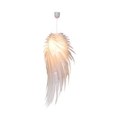 White Feather Pendant Lighting Modern Nordic Single Light Hanging Ceiling Light, 23.5