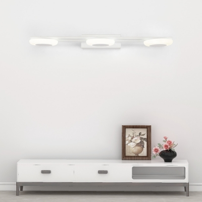 3-LED Linear Bath Light Contemporary Acrylic Wall Mount Light with Neutral Lighting