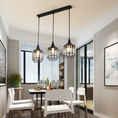3 Lights Linear Pendant Light with Bottle/Cylinder/Urn Shade Metal and Crystal Modern Black Suspension Lamp
