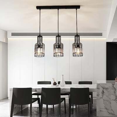 3 Lights Linear Pendant Light with Bottle/Cylinder Shade Metal and Crystal Modern Black Suspension Lamp