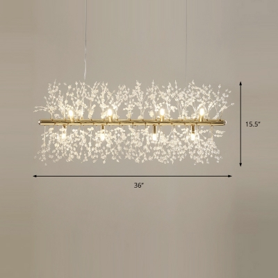 9/12 Lights Linear Pendant Lamp with Clear Crystal Bead Modern Metal Kitchen Island Lighting in Chrome/Gold