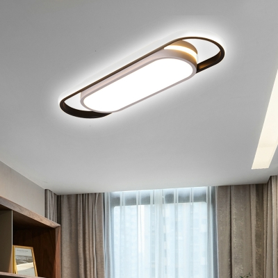 Acrylic Rectangle/Oval LED Flush Ceiling Light Simple Warm/White Lighting Ceiling Lamp in White for Hallway