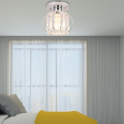 Black/Chrome Wire Flush Mount Ceiling Light 1 Head Mini Ceiling Flush Light with Clear K9 Crystal Shade