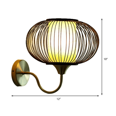 Black Oval Cage Wall Lighting Asian Style 1 Light Bamboo Wall Sconce Light with Gooseneck