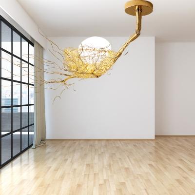 Brass Nest Ceiling Hanging Light Art Deco Metallic Pendant Light with Orb Opal Glass Shade