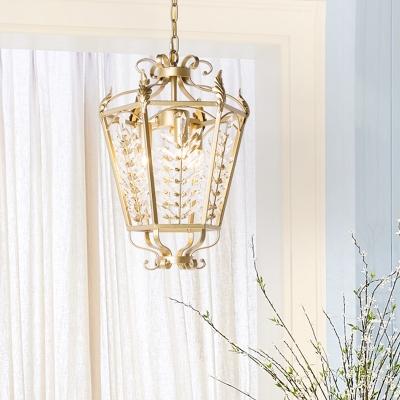 Clear Crystal Lantern Pendant Lighting Vintage 3 Lights Foyer Chandelier Lamp in Gold