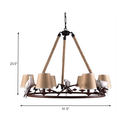 Country Style Conical Ceiling Hanging Light Beige Fabric Shade 6 Lights Chandelier in Rust Finish with Bird Accents